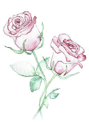 Valentines Day Drawing - Twin Roses by Varpu Kronholm