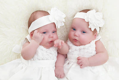 Cute Photograph - Twin Sisters Babies Lying Together On White Soft Fur Blanket. by Michal Bednarek