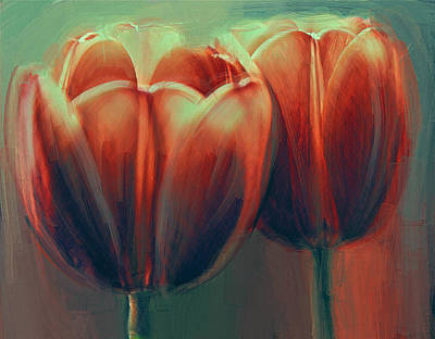 Digital Art - Twin Tulips by Yury Malkov