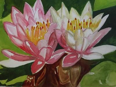 Longwood Gardens Painting - Twin Water Lilies by Janice Baumann