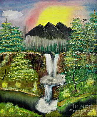 Painting - Twin Waterfalls by Joseph Summa
