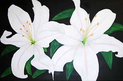 Rocca Painting - Twin White Lillies by Sarah England-Rocca
