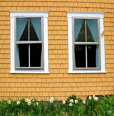 Mellow Yellow Rights Managed Images - Twin Windows on a Mustard House Royalty-Free Image by Wayne King