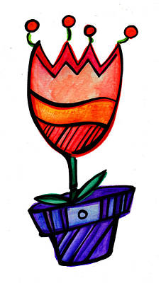 Cute Mixed Media - Twinged Tulip 1 by Sandi Fender