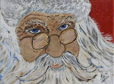 Painting - Twinkle In His Eye - Santa by Ella Kaye Dickey