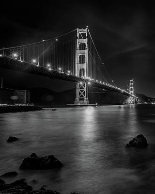 Twinkling Golden Gate Bridge Black And White Art Print
