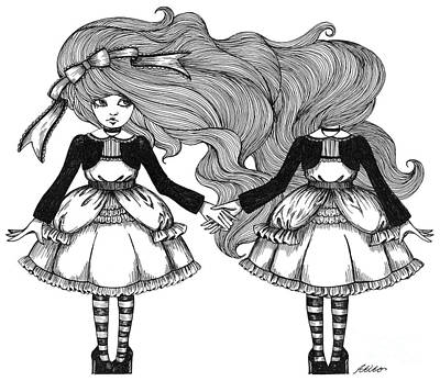 Drawing - Twins Alice by Akiko Okabe