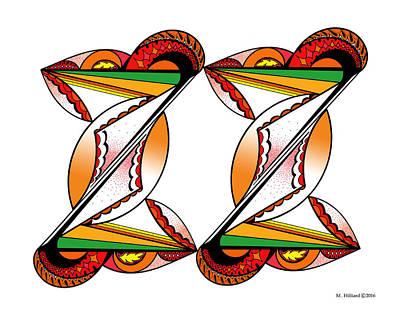 Kaleidoscope Drawing - Twins by Marilyn Hilliard