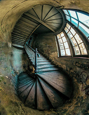 Photograph - Twisted Abandoned Staircase by Jaroslaw Blaminsky