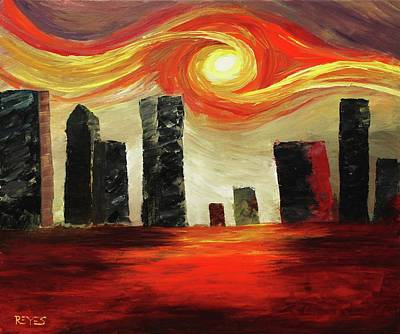 Painting - Twisted City by Angel Reyes