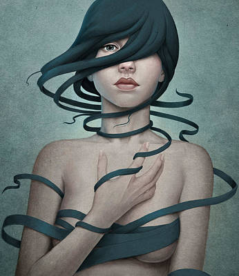 Female Portrait Digital Art - Twisted by Diego Fernandez