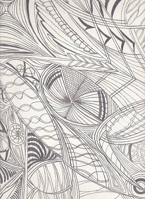 Geometrical Drawing - Twisted Dimensions by Laurie Gibson