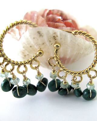 Adove Jewelry - Twisted Gold Hoops With Chrysocolla And Praisiolite by Adove  Fine Jewelry
