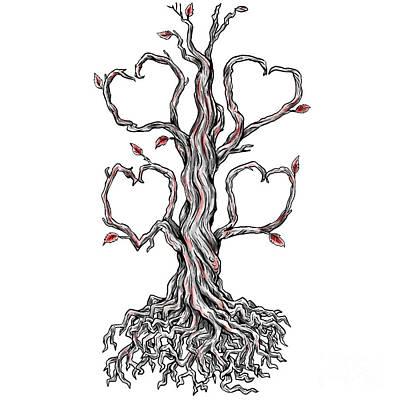 Tree Roots Digital Art - Twisted Oak Tree Heart Branch Tattoo by Aloysius Patrimonio