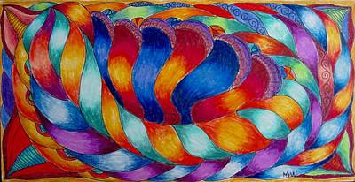 Colored Pencil Abstract Drawing - Twisted Satin by Megan Walsh