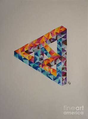 Colored Pencil Abstract Drawing - Twisted Triangle by Kathryn Jinae