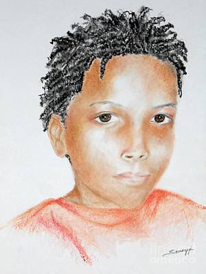 Drawing - Twists, At 9 -- Portrait Of African-american Boy by Jayne Somogy