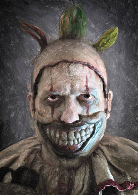 Evil Clown Painting - Twisty The Clown by Taylan Apukovska