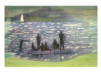 Twlight Swim  Art Print by Hal Newhouser