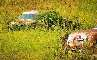 Photograph - Two 1953 Buick Roadmasters In A September Field by Greg Jackson