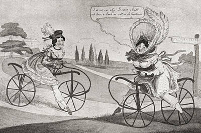 Bike Drawing - Two 19th Century English Ladies by Vintage Design Pics