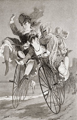 Bike Drawing - Two 19th Century Ladies Have An by Vintage Design Pics