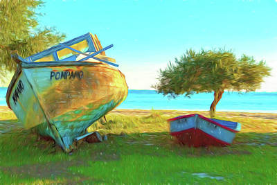 Photograph - Two Abandoned Boats On Choctawhatchee Bay by Kay Brewer