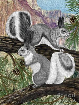 Digital Art - Two Abret Squirrels by Walter Colvin