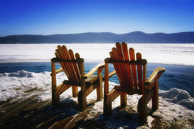 Empty Chairs Photograph - Two Adirondack Chairs  by George Oze