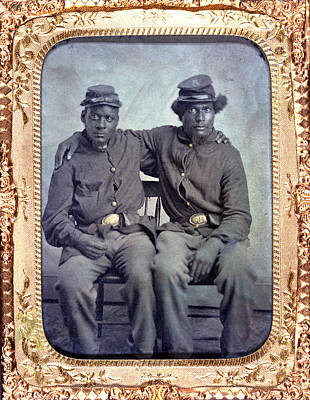 Photograph - Two African American Soldiers Wearing by Everett