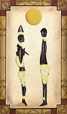 Two African Figures Art Print by Sally Appleby