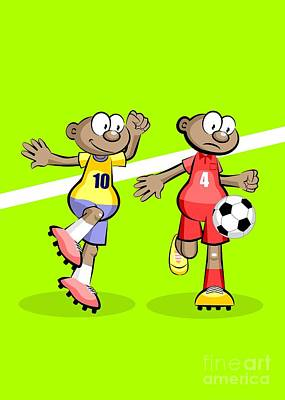 Soccer Digital Art - Two African Soccer Players Dispute The Ball by Daniel Ghioldi