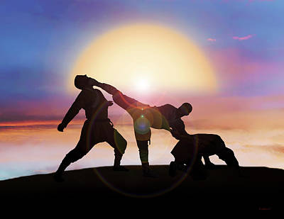 Mixed Martial Artist Digital Art - Two Against One by Brian Wallace
