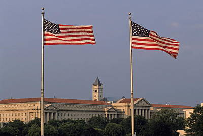 Two American Flags With Old Post Office Building Art Print by Sami Sarkis