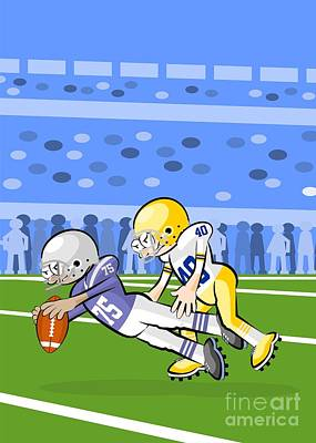 American Football Digital Art - Two American Football Players Battling For The Ball by Daniel Ghioldi