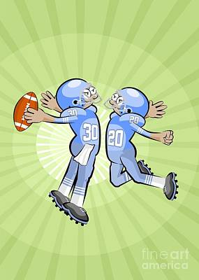 American Football Photograph - Two American Football Players Celebrate Victory by Daniel Ghioldi