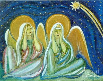Painting - Two Angels - Anticipation by Anna Folkartanna Maciejewska-Dyba