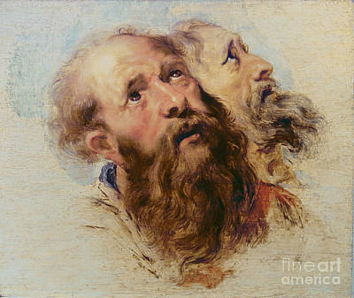 Jesus Face Painting - Two Apostles by Rubens