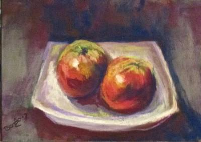 Pastel - Two Apples by Barbara O'Toole