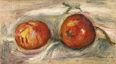 Painting - Two Apples by Pierre-Auguste Renoir