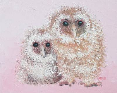 Painting - Two Baby Owls by Jan Matson
