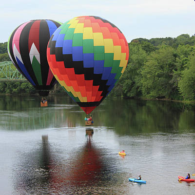 Photograph - Two Balloons Over Water by Ed Fletcher
