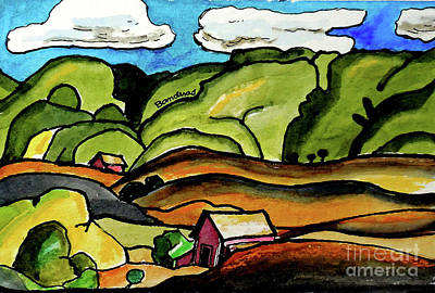 Painting - Two Barns by Terry Banderas