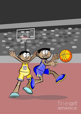 Two Basketball Players Try To Catch The Ball Art Print