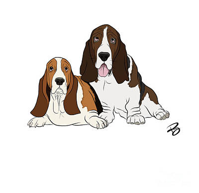 Digital Art - Two Bassets by Rachel Barrett