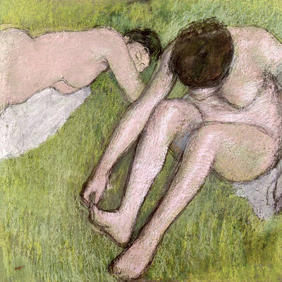 Degas Pastel - Two Bathers On The Grass by Edgar Degas