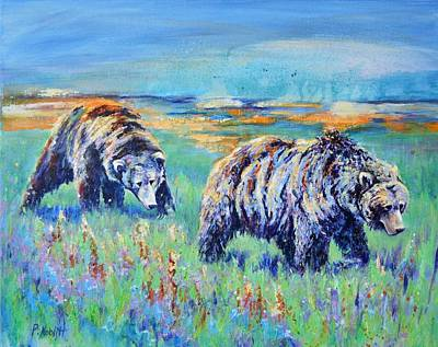 Wall Art - Painting - Two Bears by Paula Noblitt