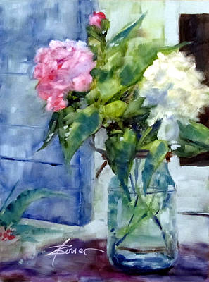Painting - Two Beauties And A Bud  by Adele Bower