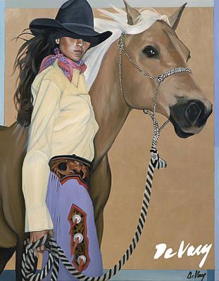 Beautiful Western Cowgirl Painting - Two Beautiful Ladies by David DeVary