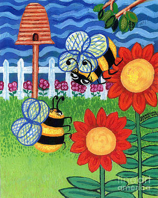 Sunflowers Royalty-Free and Rights-Managed Images - Two Bees With Red Flowers by Genevieve Esson